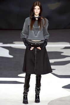 Chanel Fall 2013 Grey top and Black A line skirt... cool