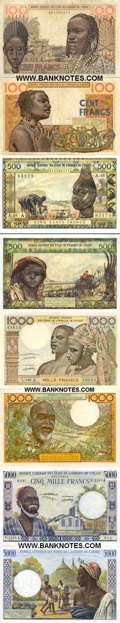 Cote d'Ivoire (Ivory Coast):  100 Francs (1961); 500 Francs (1959-64); 1000 Francs (1959-65); 5000 Francs (1961-65).