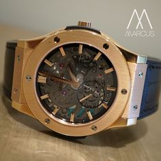 Hublot Classic Fusion Ultra-Thin Skeleton. Manual wind in 18ct rose gold gold. Available in 42mm or 45mm case.