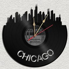Chicago Theme Vinyl Record clock Upcycled vinyl records Great Gift