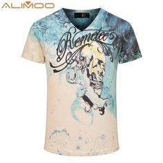 >> Click to Buy << Alimoo 3D Skull Printed Men's T-Shirts 2016 Fashion Brand Novelty Design Blouses Top Tees Short Sleeve V-Neck Soft T-shirt M-3XL #Affiliate