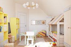 Оформление детской комнаты с треугольным потолком