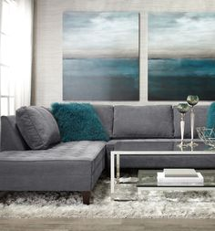 Create a sense of calm and rejuvenation with cerulean accents and our lounge-worthy Vapor Sectional.