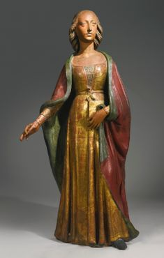 A lifesize Italian gilt and painted terracotta figure of Mary Magdalene, by Agnolo di Polo circa Pistoia - Sotheby's. Previously held by THE METROPOLITAN MUSEUM OF ART, NEW YORK. I can't believe they would part with something so beautiful. Italian Renaissance, Renaissance Art, Statues, Mary Magdalene, Terracota, European Paintings, Effigy, Medieval Art, Old Master