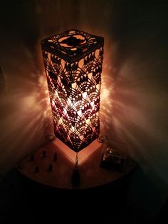 crocheted lampshade. Crochet Lampshade, Fairy Lanterns, Crochet Cozy, I Love Lamp, Affordable Art Fair, Crochet Home Decor, Lamp Shades, Household Items, Crochet Projects