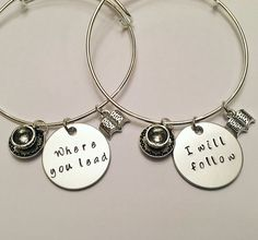 "Where You Lead I Will Follow Rory Gilmore Lorelai Gilmore Girls BFFS Sisters Girlfriends Mother Daughter Adjustable Charm Bangle Bracelets Each bangle bracelet is made to order, and each letter is stamped individually by hand, so every item will be slightly unique! The product you receive may vary from the photo shown. Charms and beads will remain the same unless order is customized. The hand stamped charm is 1"" aluminum. If you need this item quickly please contact me for information…"