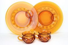 Vintage Glass Snack Set Amber Glass 1950s by UnderTheSycamores, $12.00
