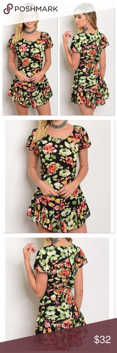 Spring Floral Romper Fabric Content: 100% POLYESTER   Will provide measurements upon request (serious buyers only please). Bundle and Save! 10% off of a bundle of 3 or more.          * Romper runs a size small so please size up!!                 Small= XS, Medium= S                                                          *Top of Romper is sheer and bottom is lined, so I recommend wearing a tank underneath if you don't like the sheerness. Pants Jumpsuits & Rompers