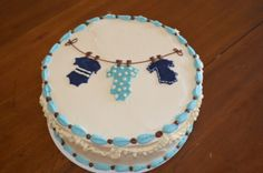 Clothes Line Baby Shower Cake #itsaboy
