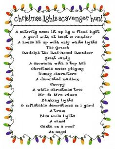Christmas light scavenger hunt! So fun!