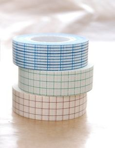 Japanese Washi Masking Tapes Set of 3 / Blue, Green and Brown Grid 18mm