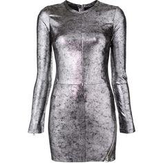 Rta fitted mini dress ($1,095) ❤ liked on Polyvore featuring dresses, grey, rta, grey mini dress, fitted dresses, metallic dress and print mini dress