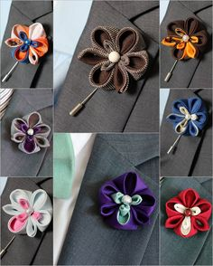 Rustic boutonniere Lapel flower pin Silk and linen by Nevestica