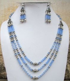 BLUE CHALCEDONY FACETED 3 LINE NECKLACE WITH EARRING .925 STERLING SILVER PLATED #jaipurjewelshub #NECKLACE