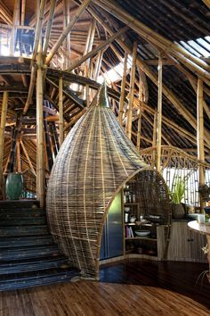 Perched on the edge of the Ayung river valley in Bali, Indonesia, this unique 6 storey house is constructed almost entirely of bamboo. The stunning tropical house, called Sharma Springs, was designed by IBUKU Bamboo Architecture, Architecture Design, Interior Tropical, Bamboo House Design, Bamboo Building, Balinese Decor, Bamboo Structure, Bamboo Construction, Bamboo Art