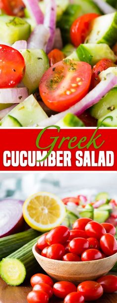 Greek Cucumber Salad - I took this to a party and it was the first thing gone. Greek Cucumber Salad – tomato, cucumber, and red onions in a greek dressing Greek Recipes, Diet Recipes, Healthy Recipes, Healthy Salads, Healthy Eating, Greek Cucumber Salad, Cucumber Juice, Mediterranean Cucumber Salad, Caesar Salad