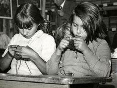 Dutch children learning to knit in school.