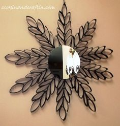 Mirrored Wall Hanging / Toilet Paper Roll Art :http://www.cookinandcraftin.com/mirrored-wall-hanging-toilet-paper-roll-art/