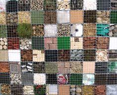 Quilt- like gabion wall Garden Studio, Garden Art, Garden Design, Gabion Cages, Gabion Retaining Wall, Trash Art, Hillside Landscaping, Gabion Baskets, Garden Structures