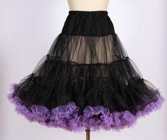 7922a1858ede5b Vintage rockabilly pinup black with purple trim net petticoat /tulle  underskirt for swing dress 20130081