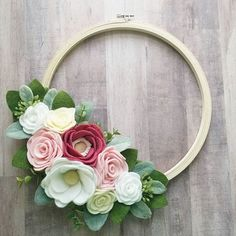 This hoop wreath will be available in Friday's restock of my Etsy shop ❤ It's perfect for spring. It certainly… Felt Flower Wreaths, Felt Wreath, Wreath Crafts, Felt Flowers, Flower Crafts, Diy Flowers, Fabric Flowers, Paper Flowers, Door Wreath