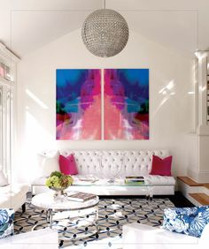 you could blow up a water color painting and have it separated and put on canvas to get the same high impact look