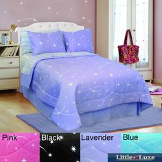 @Overstock - This Veratex glow in the dark ensemble is perfect for those who love the night sky. Created from a natural mineral to achieve the glowing effect, this comforter set is detailed with stars and printed on 100-percent face cotton.http://www.overstock.com/Bedding-Bath/Veratex-Glow-in-the-Dark-Stellar-Comforter-Set/7341418/product.html?CID=214117 $62.99