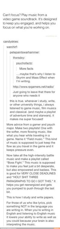 I think these are great ideas. I didn't even think of listening to music from games. I would listen to classical. Sometimes it felt I needed something else. sStudying something boring makes it really hard to want to focus and study. Writing Advice, Writing Help, Writing Prompts, Writing Papers, Essay Writing, Writing Services, Persuasive Writing, School Life Hacks, School Study Tips