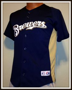 MILWAUKEE BREWERS MAJESTIC REPLICA BUTTON DOWN JERSEY YOUTH LARGE FREE SHIP #Majestic #MilwaukeeBrewers