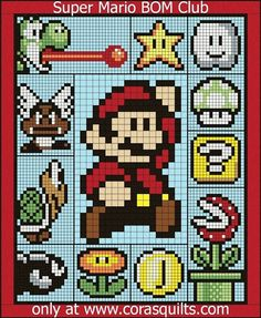 Cross Stitch Patterns Finished Size: x - Welcome to the home of the Super Mario Quilt Along Mario Crochet, Crochet Pixel, Graph Crochet, Stitch Crochet, Crochet Stitches, 8 Bit Crochet, Crochet Afghans, Crochet Blanket Patterns, Quilt Patterns