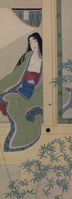 Japanese Fine Art Wall Hanging Scroll Painting Beauty beautiful lady in kimono admiring Firely Kakejiku – 140114 Silk Painting, Figure Painting, Asian Image, Heian Era, Traditional Japanese Art, Japanese Folklore, Japanese Prints, Hanging Wall Art, Japanese Culture