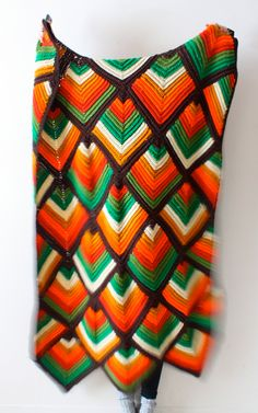 Vintage/retro navajo bohemian aztec blanket orange brown green
