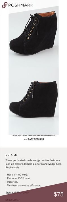 Jeffrey Campbell 99 Wedge Laceup booties Super cute and fun booties for fall! In great preworn  condition. Jeffrey Campbell Shoes Ankle Boots & Booties