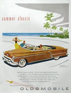 1953 Oldsmobile Ad - Gold Ninety Eight Convertible Coupe - 1950s Classic Car - Midcentury America - Vintage Auto Ads - Paper Prints