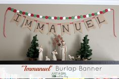 Cute and simple burlap banner-- beautiful Christmas decor!   Just a Girl and Her Blog