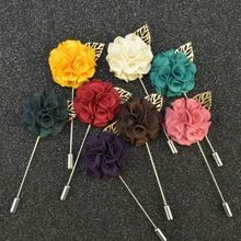 Wholesale classic 2015 men lapel pin brooch flower long suit lapel pin multi Flower petal gold leaf corsage brooch for wedding(China (Mainland))