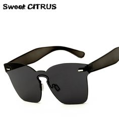 8df31916b7dc02 Sweet CITRUS Luxury Rimless Sunglasses Women Brand Designer Oversized  Mirror Sun Glasses For Men Eyewear lunette