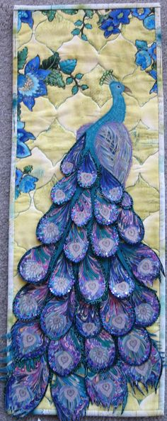 Peacock, embellished art quilt, at Metaphor in Fabric