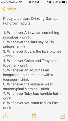 Pretty Little Liars drinking game. PLL