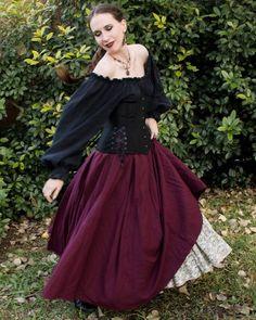 Dark Purple Linen Renaissance Skirt - Ren Faire Garb - Womens Adult Costume - Halloween Costume - Witch Skirt - Medieval Clothing - SCA LARP handmade by Faire Treasures Renaissance Skirt, Renaissance Fair Costume, Medieval Gown, Renaissance Clothing, Steampunk Clothing, Gypsy Clothing, Renaissance Outfits, Steampunk Fashion, Female Pirate Costume