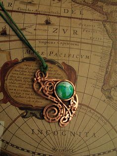 Copper pendant with variscite - rework by Bohemi-enne.deviantart.com on @DeviantArt