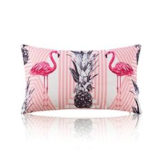 American Pastoral Simple Cotton Linen Tropical Rain Forest Series Printing Sofa Pillow Flamingo Pattern Lumbar Pillow