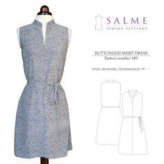 Buttonless Shirt Dress Sewing Pattern