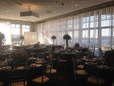 Indoor Reception at Stockton Golf & Country Club. Linens and decor by Esmeralda of E Party Decor.