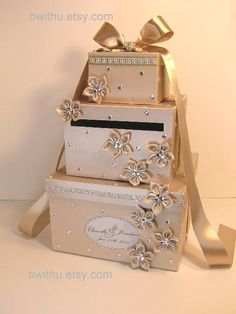 Champagne Card Box Gift Card Box Money Box Holder-Customize your color. $115.00, via Etsy.