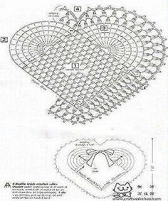 Cuori e vilette schema- Picasa Web Album MaisHeart is sprouting all things. Is not it beautiful that heart crochet?February 2015 – Page 2 – maysoondo crochet huis Crochet Diy, Crochet Motifs, Crochet Chart, Crochet Home, Love Crochet, Filet Crochet, Crochet Doilies, Crochet Flowers, Crochet Stitches