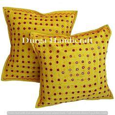 2pc decorative Throw Pillow Handmade Indian Mirror Work Pillow Decorative pillow