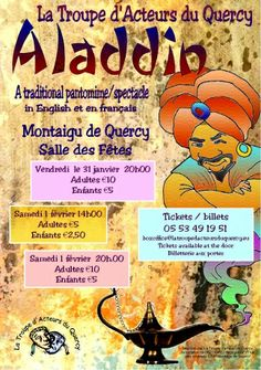 """Classified on RootstockAds : Pantomime """"Aladdin""""  Montaigue de Quercy."""