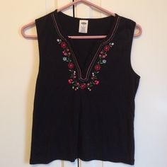 Old navy top. Size Medium Black sleeveless top with embroidery. Size M. Good condition. Old Navy Tops