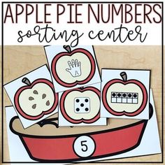 Apple Pie Sorting - This activity for number representation 1-10. You get four #NumberRepresentations - counting fingers, a ten frame, dice, and apple seeds. Great for math centers or stations, morning tubs, review, and more. Great for preschool, Kindergarten, or 1st grade students during the fall months, an #appleunit, or at any time of year. #AppleMath #Counting #KindergartenMath #FirstGradeMath #SecondGradeMath